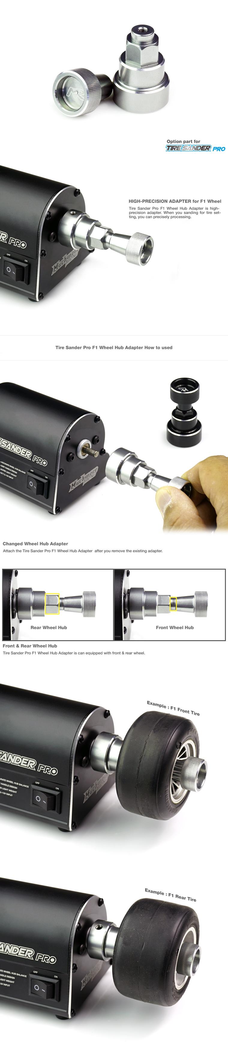 MR-TSPF1Tire Sander Pro F1 Wheel Hub Adapter By Muchmore Racing Co., Ltd.