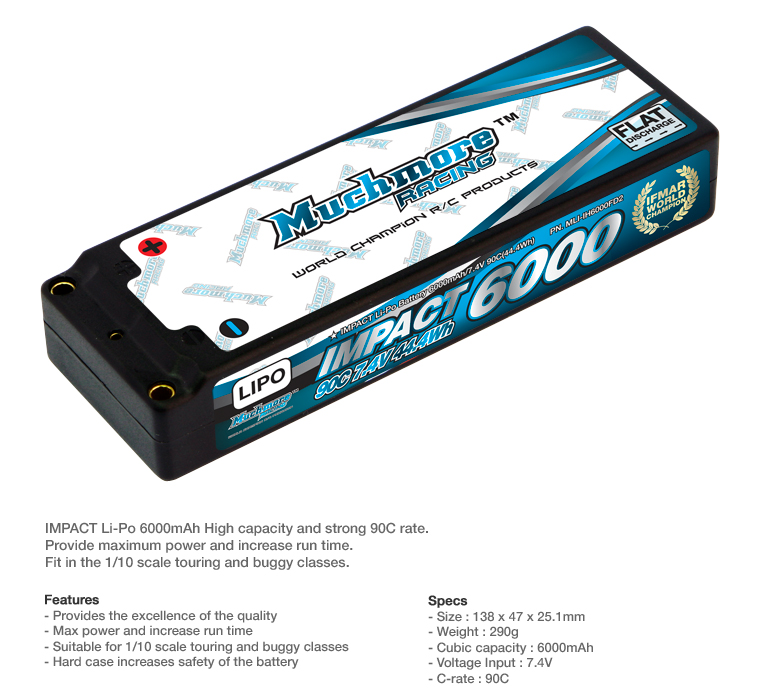 MLI-IH6000FD2 IMPACT FD2 Li-Po Battery 6000mAh/7.4V 100C Flat Hard Case by Muchmore Racing. Co., Ltd.
