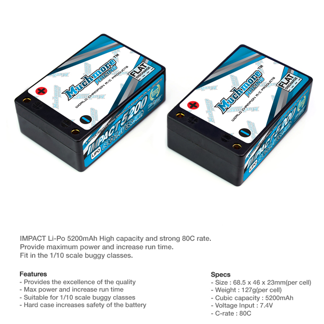 MLI-IS5200FD2 IMPACT FD2 Li-Po Battery 5200mAh/7.4V 80C Low Height Saddle Hard Case by MuchmoreRacing Co., Ltd.