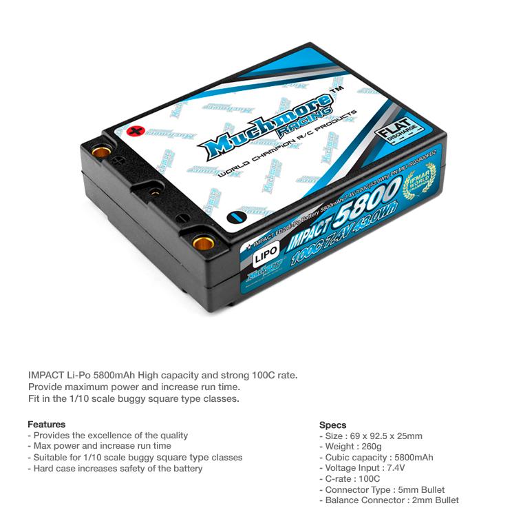 MLI-SQ5800FD2IMPACT FD2 Li-Po Battery 5800mAh/7.4V 100C Square Pack By MuchmoreRacing Co., LTd.