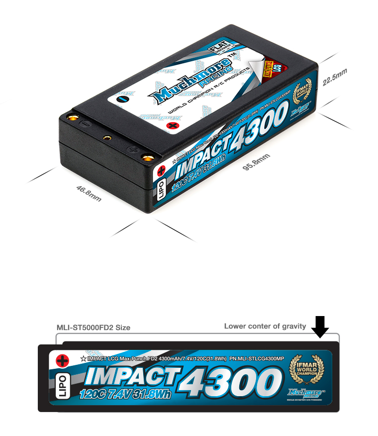 MLI-STLCG4300MP IMPACT LCG Max-Punch FD2 4300mAh/7.4V 120C Shorty Flat Hard Case