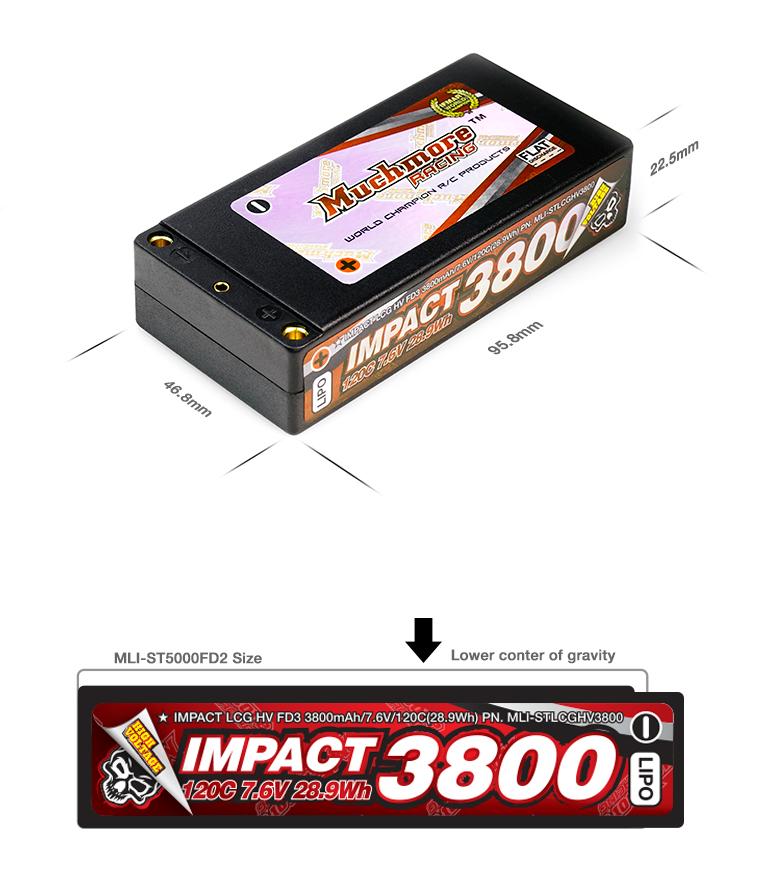 MLI-STLCGHV3800 IMPACT LCG HV FD3 3800mAh/7.6V 120C Shorty Flat Hard Caseインパクト LCG HV FD3 Li-Poバッテリー3800mAh/7.6V 120C シ
