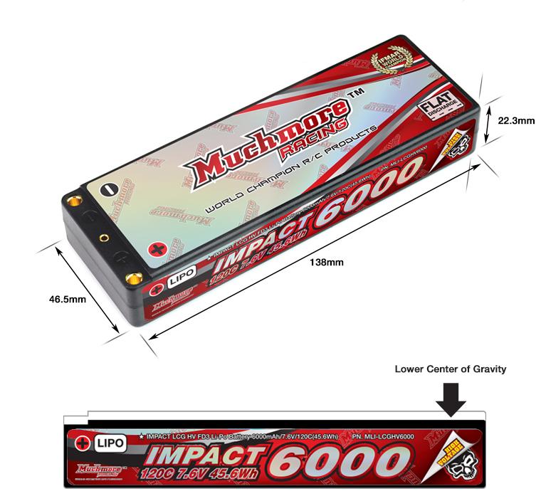MLI-LCGHV6000 IMPACT LCG HV FD3 Li-Po Battery 6000mAh/7.6V 120C Flat Hard Case インパクト LCG HV FD3 Li-Poバッテリー6000mAh/7.4V 1