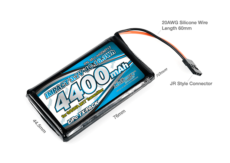 MLI-4400MT17 IMPACT Li-Po Battery 4400mAh/3.7V 4C for SANWA M17 Transmitter インパクトLi-Poバッテリー 4400mAh/3.7V 4C SANWA M17 送信 by Muchmore Racing