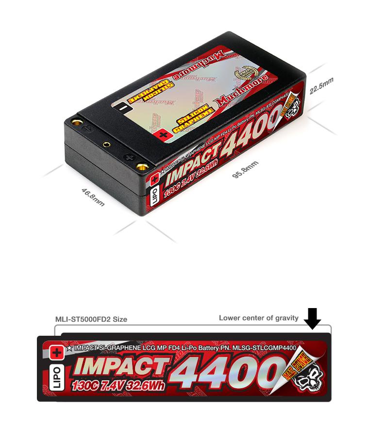 MLSG-STLCGMP4400 IMPACT Silicon Graphene LCG Max-Punch FD4 4400mAh/7.4V 130C Shorty Flat Hard Case