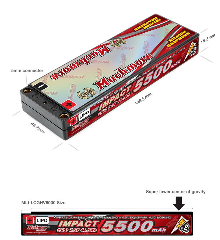 MLSG-SLCGHV5500 IMPACT Silicon Graphene Super LCG HV FD4 Li-Po Battery 5500mAh/7.6V 130C Flat Hard Case