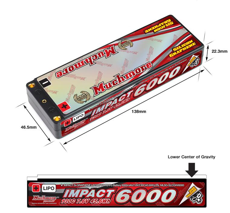 MLSG-SLCGHV6000 IMPACT [Silicon Graphene] LCG HV FD4 Li-Po Battery 6000mAh/7.6V 130C Flat Hard Case