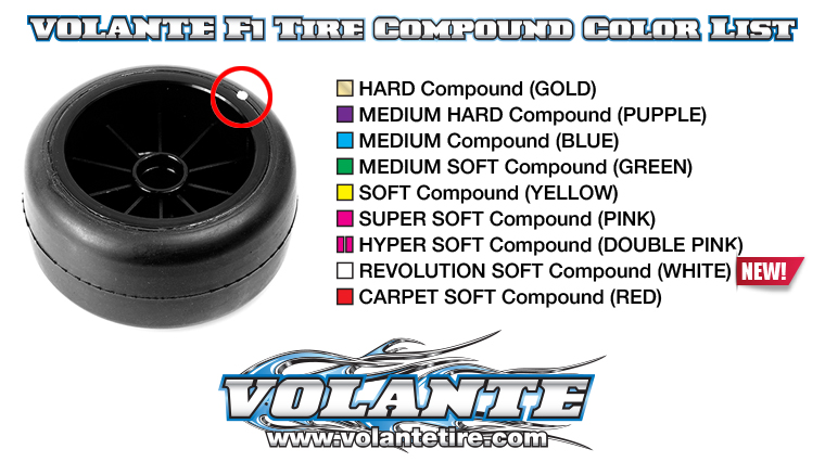 VOLANTE F1 Rear Rubber Slick Tires Preglued ( Asphalt, Carpet )