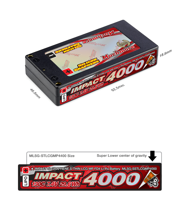 MLSG-SSTLCGMP4000IMPACT [Silicon Graphene] Super Thin LCG Max-Punch FD4 4000mAh / 7.4V 130C Hard Case