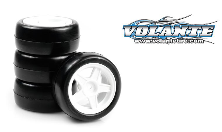 VOLANTE Mini Rubber Slick Tire Pre-glued 4pcs (0 Off set w/5 spoke wheel)