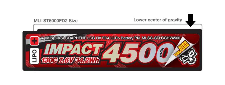 MLSG-STLCGHV4500 IMPACT [Silicon Graphene] LCG HV FD4 4500mAh/7.6V 130C Shorty Flat Hard Case